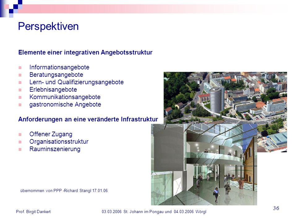Prof. Birgit Dankert 03.03.2006 St. Johann im Pongau und 04.03.2006 Wörgl 36 Perspektiven Elemente einer integrativen Angebotsstruktur Informationsang