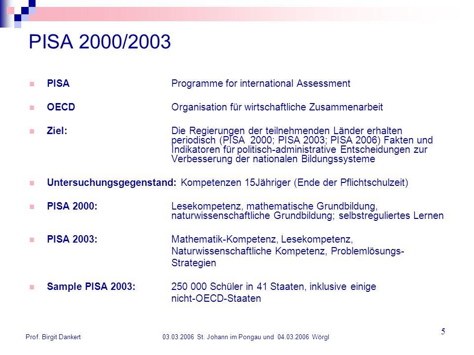 Prof. Birgit Dankert 03.03.2006 St. Johann im Pongau und 04.03.2006 Wörgl 5 PISA 2000/2003 PISA Programme for international Assessment OECD Organisati