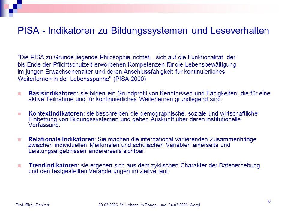 Prof. Birgit Dankert 03.03.2006 St. Johann im Pongau und 04.03.2006 Wörgl 9 PISA - Indikatoren zu Bildungssystemen und Leseverhalten