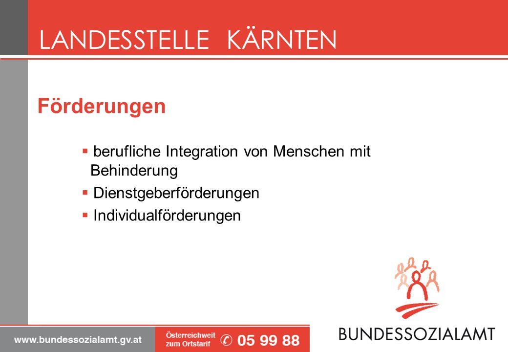 Förderungen berufliche Integration von Menschen mit Behinderung Dienstgeberförderungen Individualförderungen LANDESSTELLE KÄRNTEN