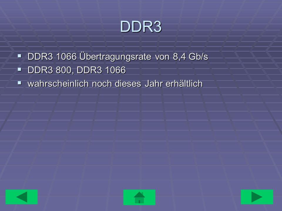 DDR3 DDR3 1066 Übertragungsrate von 8,4 Gb/s DDR3 1066 Übertragungsrate von 8,4 Gb/s DDR3 800, DDR3 1066 DDR3 800, DDR3 1066 wahrscheinlich noch diese