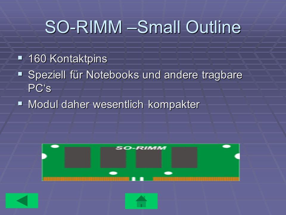 SO-RIMM –Small Outline 160 Kontaktpins 160 Kontaktpins Speziell für Notebooks und andere tragbare PCs Speziell für Notebooks und andere tragbare PCs M