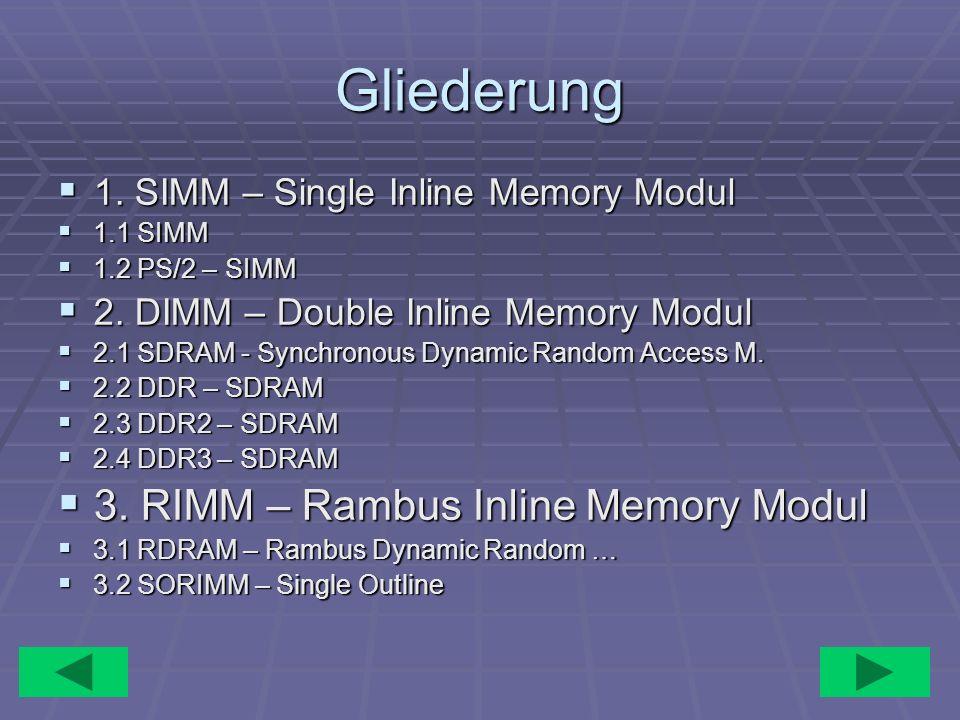 Gliederung 1. SIMM – Single Inline Memory Modul 1. SIMM – Single Inline Memory Modul 1.1 SIMM 1.1 SIMM 1.2 PS/2 – SIMM 1.2 PS/2 – SIMM 2. DIMM – Doubl