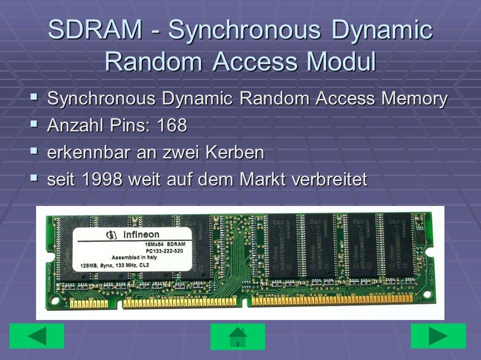 SDRAM - Synchronous Dynamic Random Access Modul Synchronous Dynamic Random Access Memory Synchronous Dynamic Random Access Memory Anzahl Pins: 168 Anz
