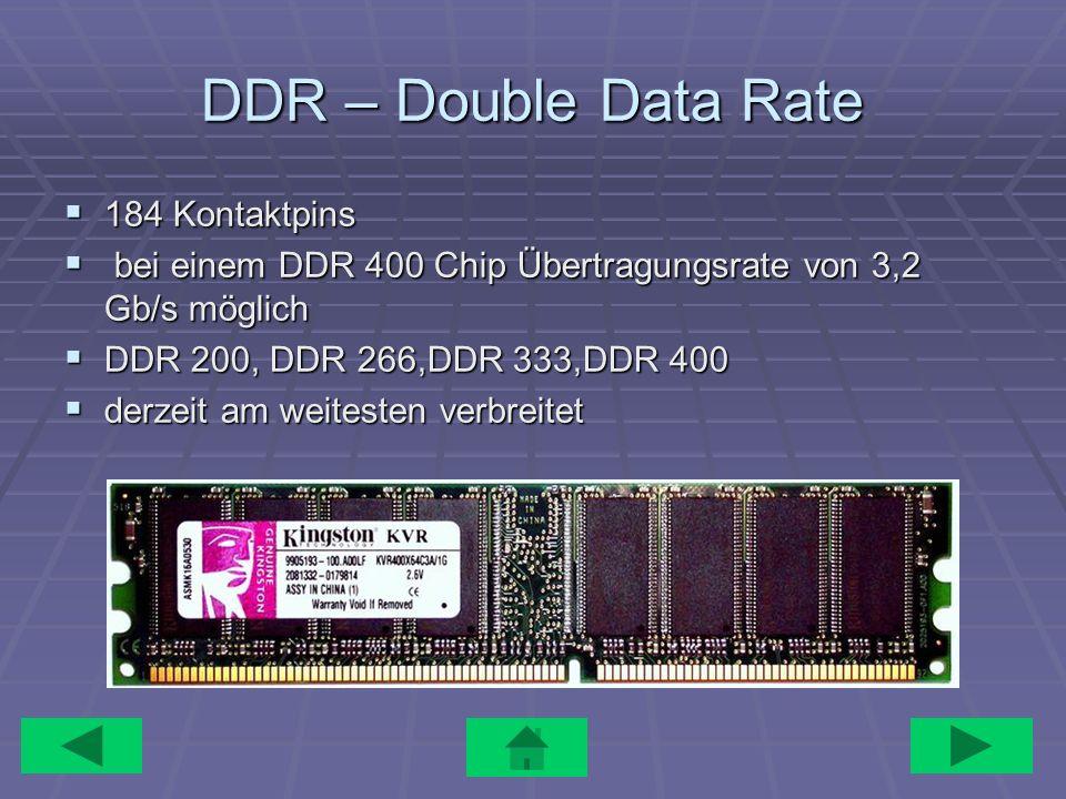 DDR – Double Data Rate 184 Kontaktpins 184 Kontaktpins bei einem DDR 400 Chip Übertragungsrate von 3,2 Gb/s möglich bei einem DDR 400 Chip Übertragung