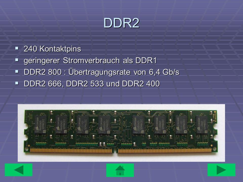 DDR2 240 Kontaktpins 240 Kontaktpins geringerer Stromverbrauch als DDR1 geringerer Stromverbrauch als DDR1 DDR2 800 : Übertragungsrate von 6,4 Gb/s DD