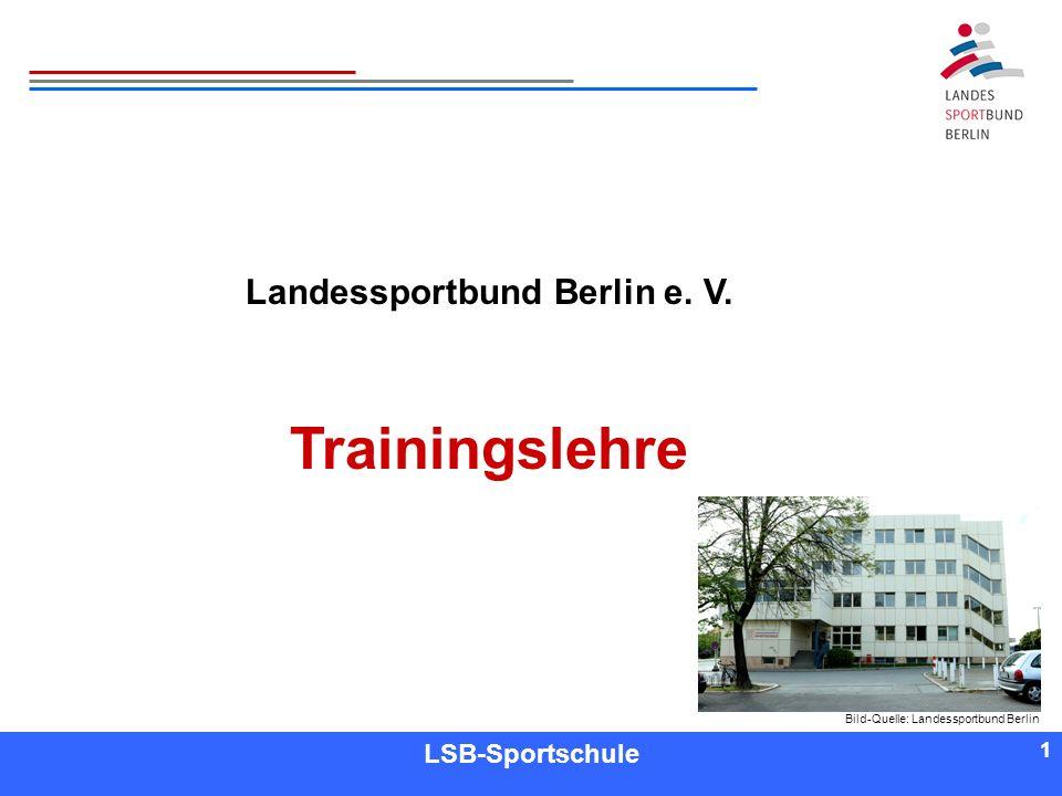 1 1 Referent LSB-Sportschule 1 Landessportbund Berlin e. V. Trainingslehre Bild-Quelle: Landessportbund Berlin