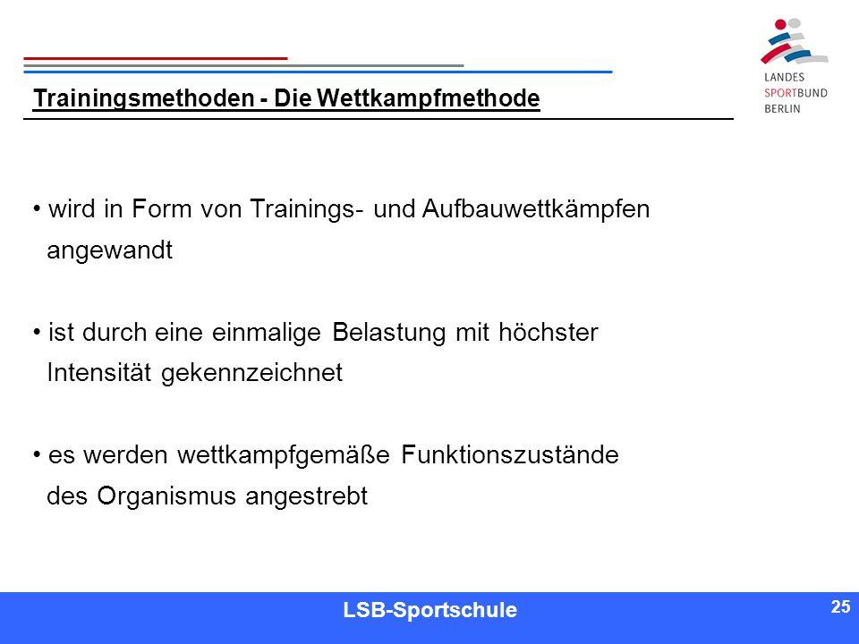 25 Referent LSB-Sportschule 25 Trainingsmethoden - Die Wettkampfmethode wird in Form von Trainings- und Aufbauwettkämpfen angewandt ist durch eine ein