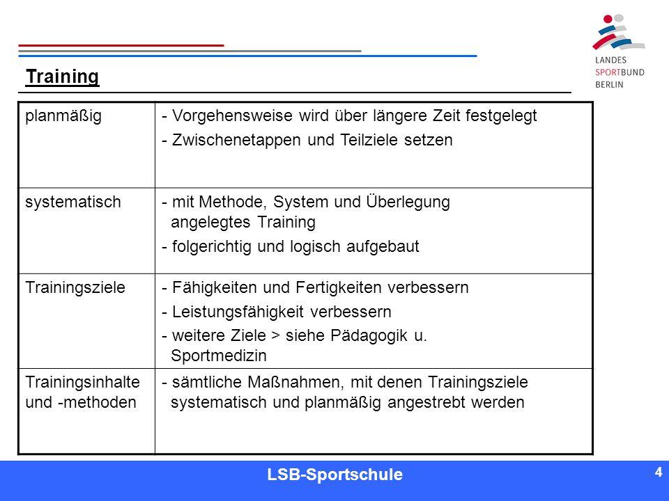 4 4 Referent LSB-Sportschule 4 Training planmäßig- Vorgehensweise wird über längere Zeit festgelegt - Zwischenetappen und Teilziele setzen systematisc