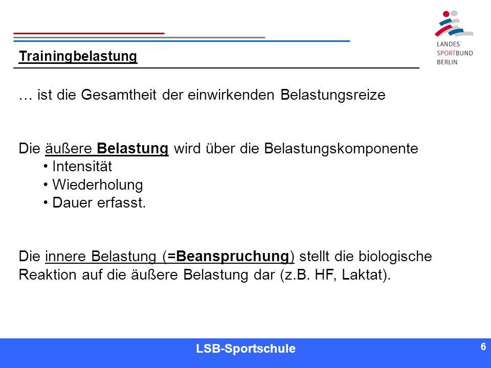 6 6 Referent LSB-Sportschule 6 Trainingbelastung … ist die Gesamtheit der einwirkenden Belastungsreize Die äußere Belastung wird über die Belastungsko
