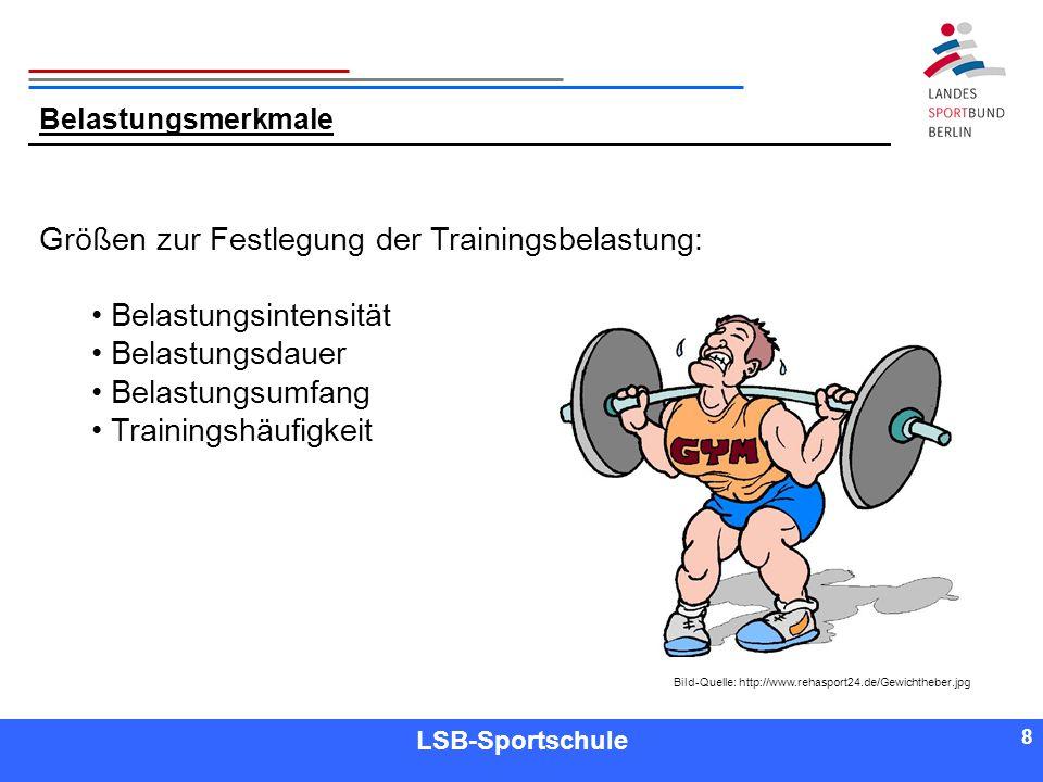 8 8 Referent LSB-Sportschule 8 Belastungsmerkmale Größen zur Festlegung der Trainingsbelastung: Belastungsintensität Belastungsdauer Belastungsumfang