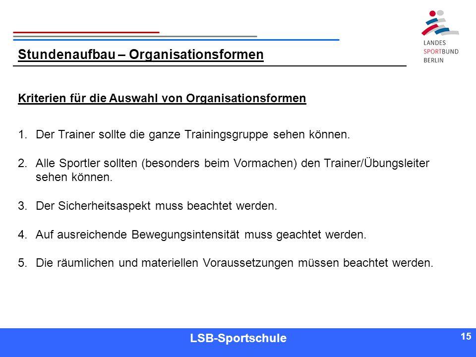 15 Referent LSB-Sportschule 15 Kriterien für die Auswahl von Organisationsformen 1.Der Trainer sollte die ganze Trainingsgruppe sehen können. 2.Alle S