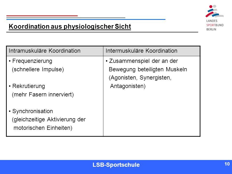 10 Referent LSB-Sportschule 10 Koordination aus physiologischer Sicht Intramuskuläre KoordinationIntermuskuläre Koordination Frequenzierung (schneller