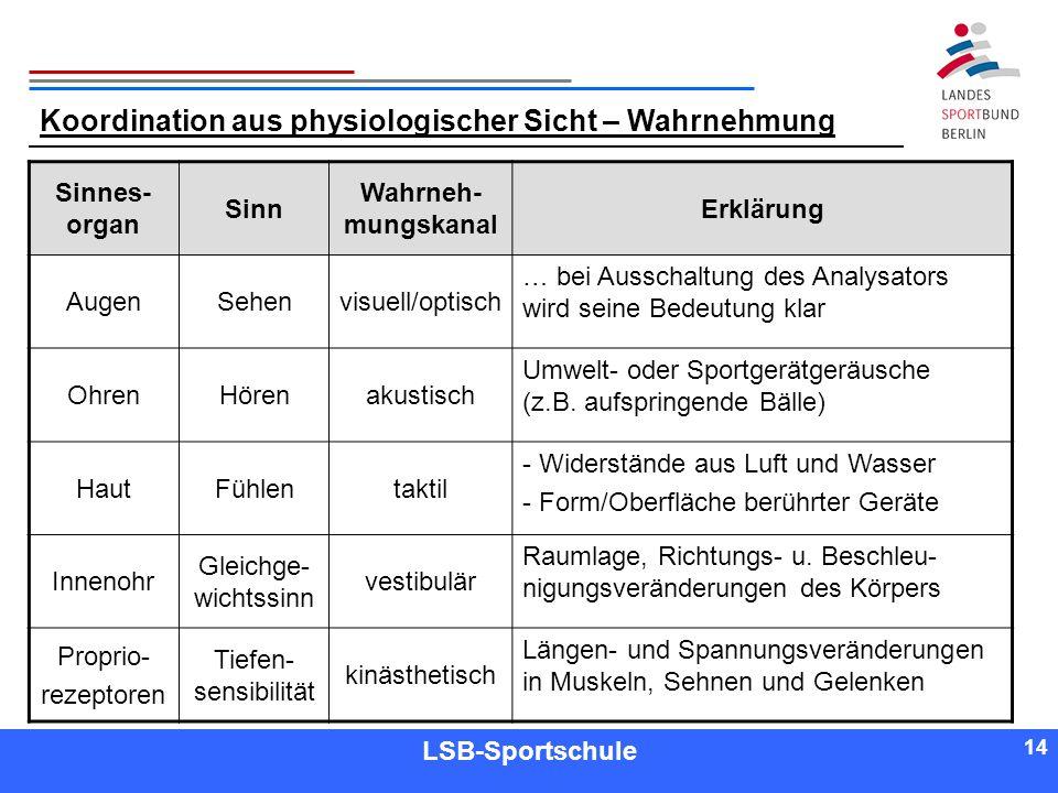 14 Referent LSB-Sportschule 14 Koordination aus physiologischer Sicht – Wahrnehmung Sinnes- organ Sinn Wahrneh- mungskanal Erklärung AugenSehenvisuell