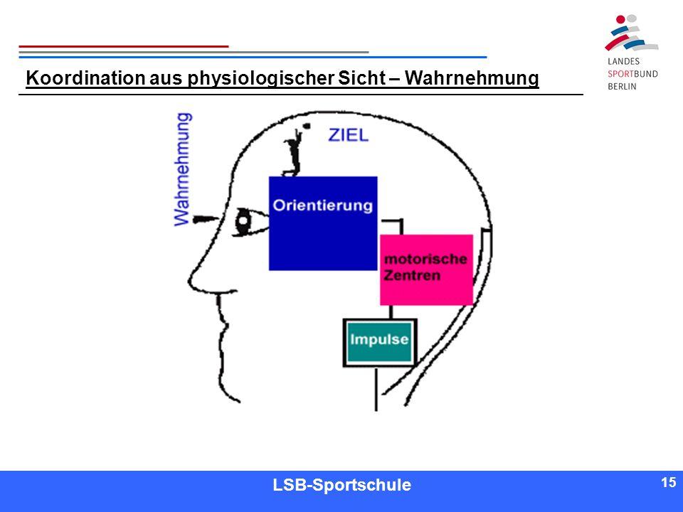 15 Referent LSB-Sportschule 15 Koordination aus physiologischer Sicht – Wahrnehmung