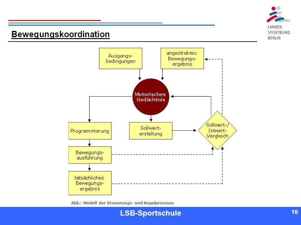16 Referent LSB-Sportschule 16 Bewegungskoordination Abb.: Modell der Steuerungs- und Regelprozesse