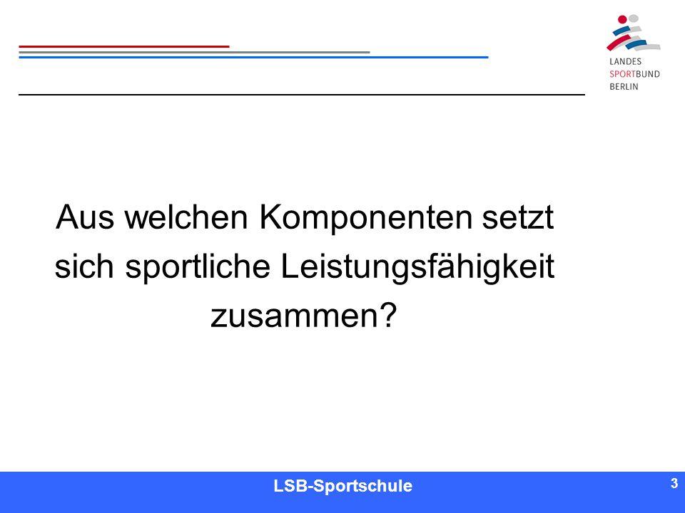3 3 Referent LSB-Sportschule 3 Aus welchen Komponenten setzt sich sportliche Leistungsfähigkeit zusammen?