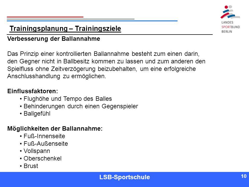 10 Referent LSB-Sportschule 10 Trainingsplanung – Trainingsziele Verbesserung der Ballannahme Das Prinzip einer kontrollierten Ballannahme besteht zum