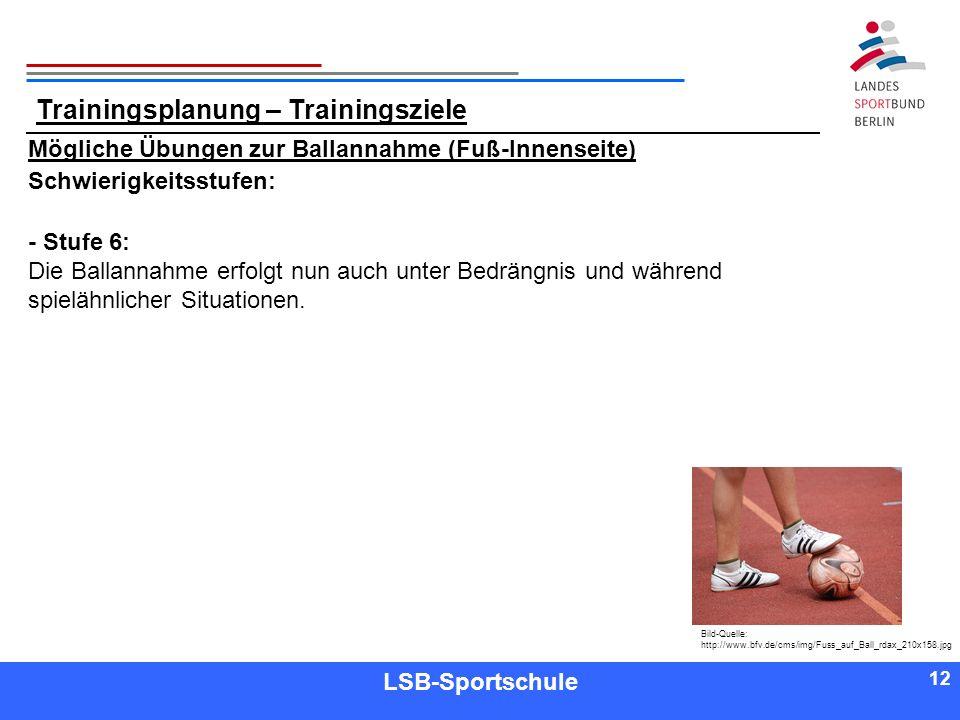 12 Referent LSB-Sportschule 12 Mögliche Übungen zur Ballannahme (Fuß-Innenseite) Schwierigkeitsstufen: - Stufe 6: Die Ballannahme erfolgt nun auch unt