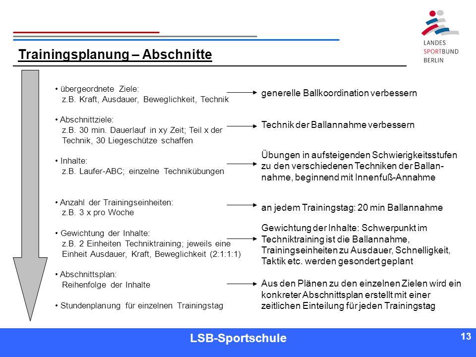 13 Referent LSB-Sportschule 13 Trainingsplanung – Abschnitte übergeordnete Ziele: z.B. Kraft, Ausdauer, Beweglichkeit, Technik Abschnittziele: z.B. 30