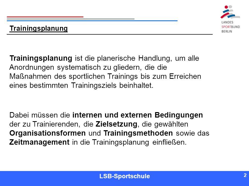 2 2 Referent LSB-Sportschule 2 Trainingsplanung Trainingsplanung ist die planerische Handlung, um alle Anordnungen systematisch zu gliedern, die die M