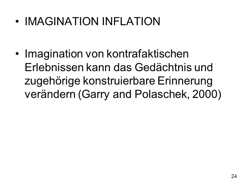 IMAGINATION INFLATION Imagination von kontrafaktischen Erlebnissen kann das Gedächtnis und zugehörige konstruierbare Erinnerung verändern (Garry and P