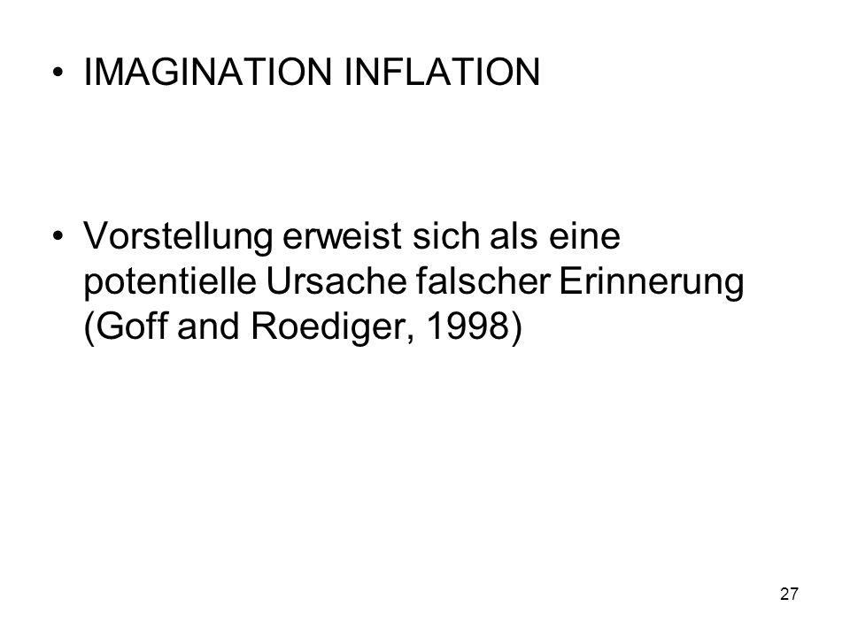 IMAGINATION INFLATION Vorstellung erweist sich als eine potentielle Ursache falscher Erinnerung (Goff and Roediger, 1998) 27
