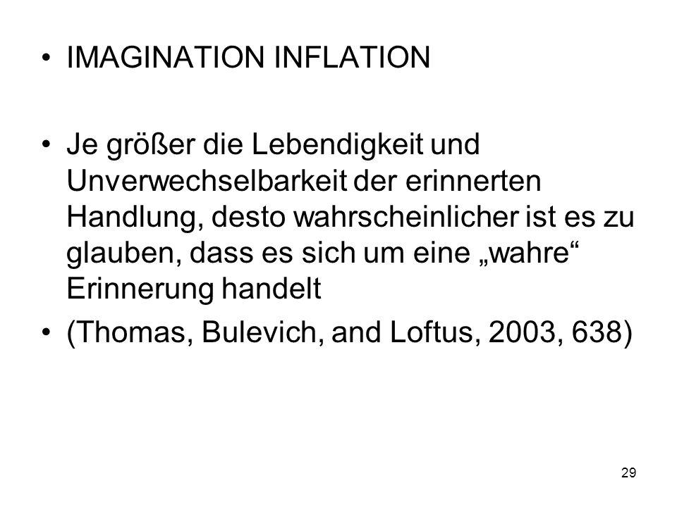 IMAGINATION INFLATION Je größer die Lebendigkeit und Unverwechselbarkeit der erinnerten Handlung, desto wahrscheinlicher ist es zu glauben, dass es si
