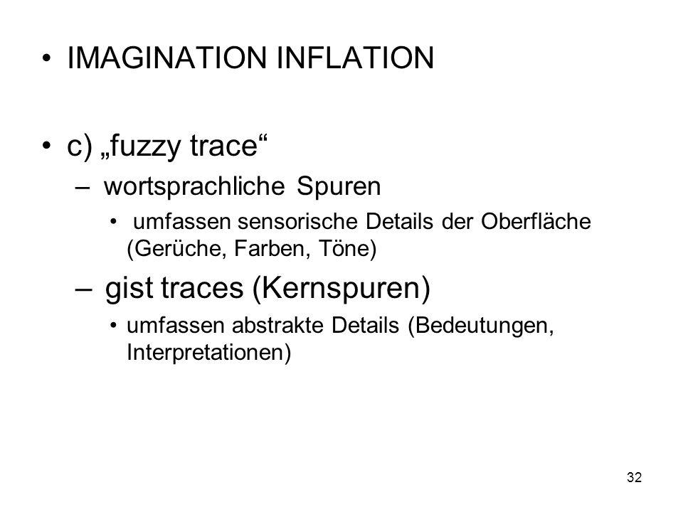 IMAGINATION INFLATION c) fuzzy trace – wortsprachliche Spuren umfassen sensorische Details der Oberfläche (Gerüche, Farben, Töne) – gist traces (Kerns