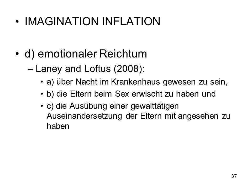 IMAGINATION INFLATION d) emotionaler Reichtum –Laney and Loftus (2008): a) über Nacht im Krankenhaus gewesen zu sein, b) die Eltern beim Sex erwischt