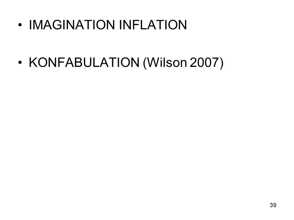 IMAGINATION INFLATION KONFABULATION (Wilson 2007) 39