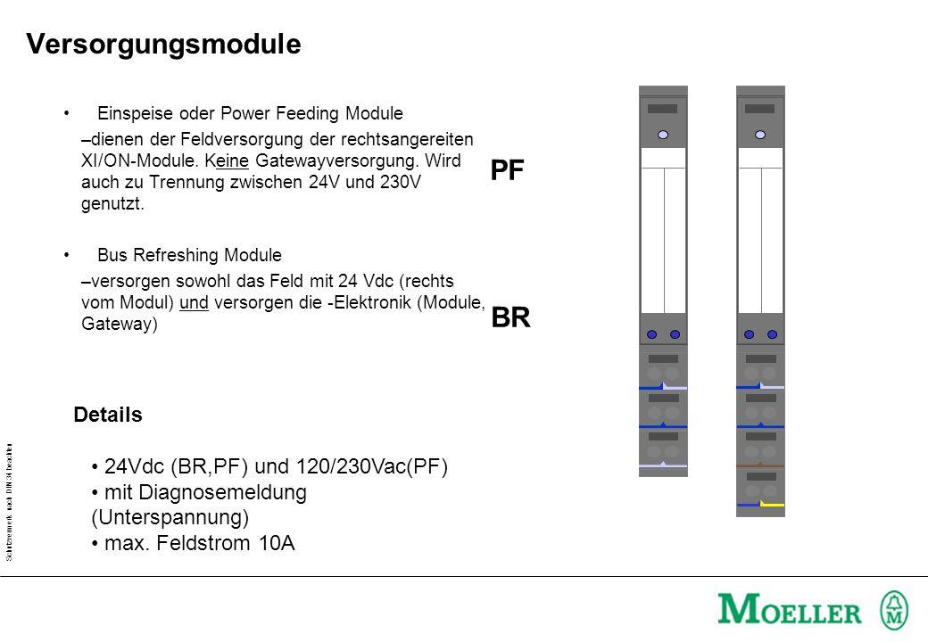 Schutzvermerk nach DIN 34 beachten Einspeise oder Power Feeding Module –dienen der Feldversorgung der rechtsangereiten XI/ON-Module. Keine Gatewayvers
