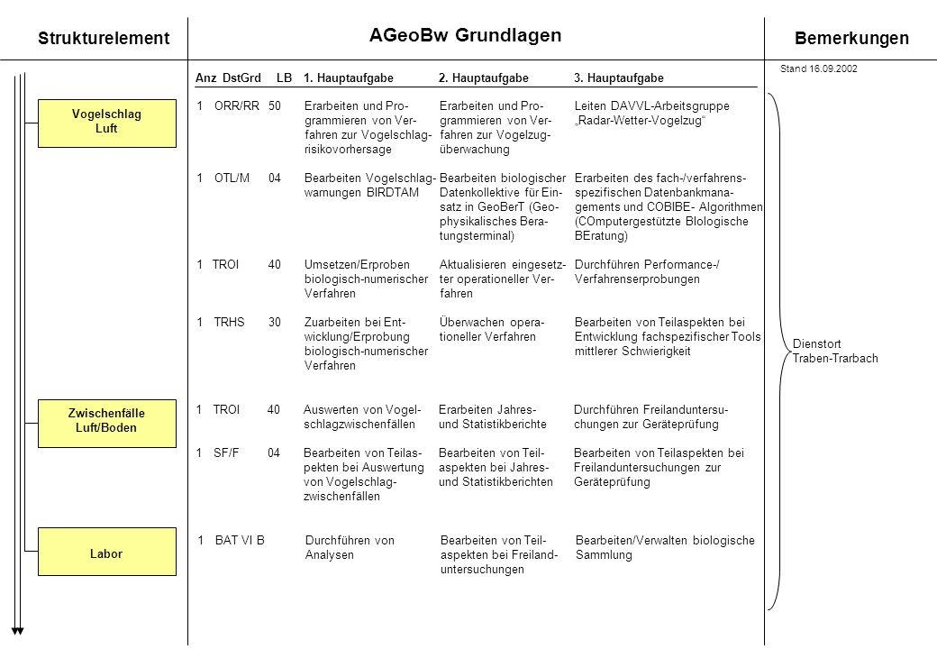 AGeoBw Grundlagen StrukturelementBemerkungen AnzDstGrdLB1. Hauptaufgabe 2. Hauptaufgabe3. Hauptaufgabe Zwischenfälle Luft/Boden Vogelschlag Luft 1ORR/