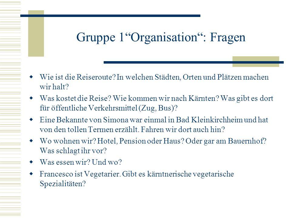 Gruppe 1Organisation: Fragen Wie ist die Reiseroute.