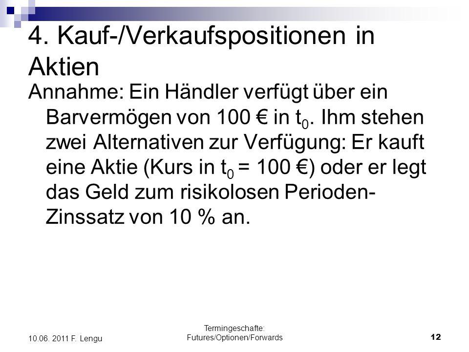 Termingeschafte: Futures/Optionen/Forwards12 10.06. 2011 F. Lengu Annahme: Ein Händler verfügt über ein Barvermögen von 100 in t 0. Ihm stehen zwei Al