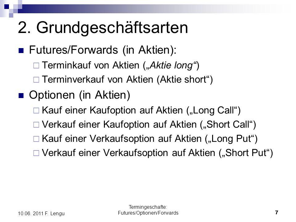 Termingeschafte: Futures/Optionen/Forwards7 10.06. 2011 F. Lengu 2. Grundgeschäftsarten Futures/Forwards (in Aktien): Terminkauf von Aktien (Aktie lon