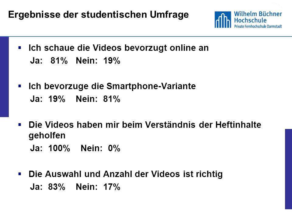 13 Umfrage unter den Studierenden der Wilhelm Büchner Hochschule, April 2013