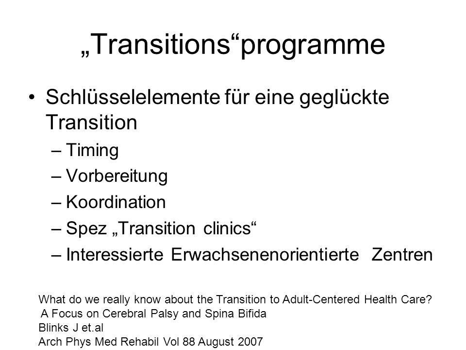 Transitionsprogramme Schlüsselelemente für eine geglückte Transition –Timing –Vorbereitung –Koordination –Spez Transition clinics –Interessierte Erwac