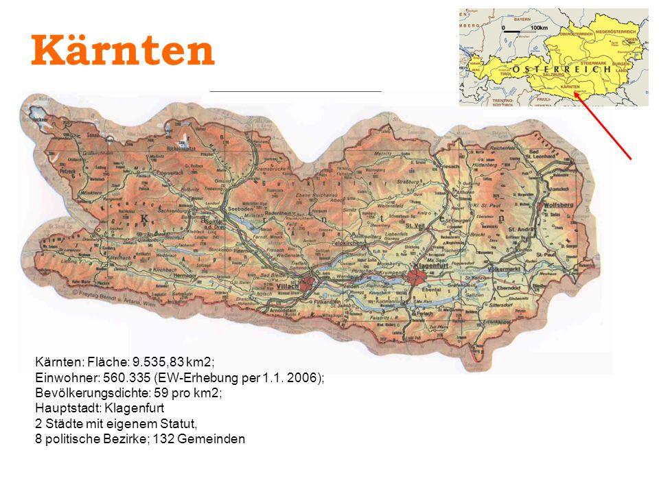 Kärnten: Fläche: 9.535,83 km2; Einwohner: 560.335 (EW-Erhebung per 1.1. 2006); Bevölkerungsdichte: 59 pro km2; Hauptstadt: Klagenfurt 2 Städte mit eig