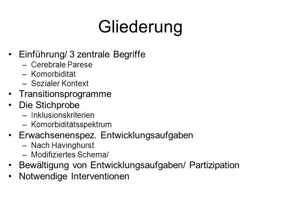 Gliederung Einführung/ 3 zentrale Begriffe –Cerebrale Parese –Komorbidität –Sozialer Kontext Transitionsprogramme Die Stichprobe –Inklusionskriterien