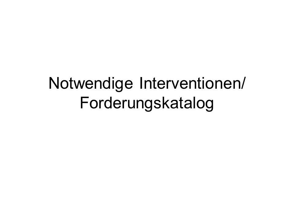 Notwendige Interventionen/ Forderungskatalog