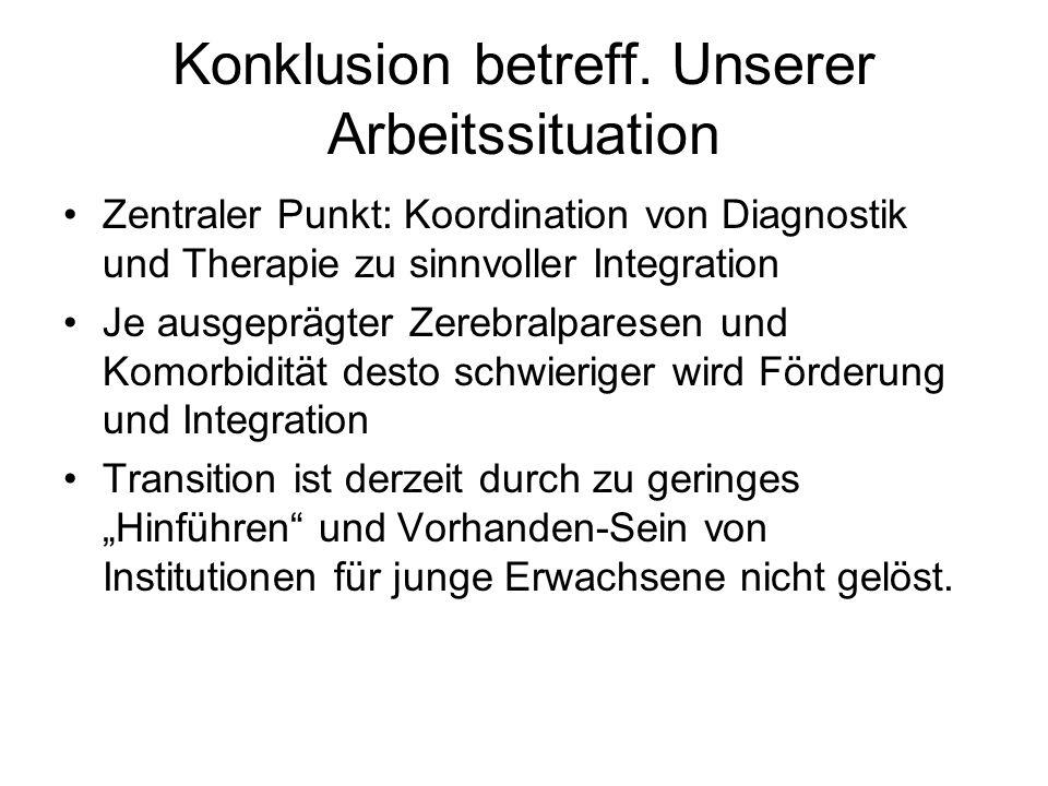 Konklusion betreff. Unserer Arbeitssituation Zentraler Punkt: Koordination von Diagnostik und Therapie zu sinnvoller Integration Je ausgeprägter Zereb