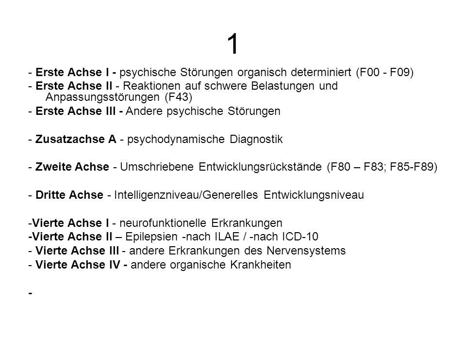 1 - Erste Achse I - psychische Störungen organisch determiniert (F00 - F09) - Erste Achse II - Reaktionen auf schwere Belastungen und Anpassungsstörun