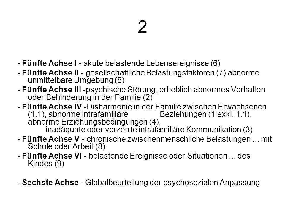 2 - Fünfte Achse I - akute belastende Lebensereignisse (6) - Fünfte Achse II - gesellschaftliche Belastungsfaktoren (7) abnorme unmittelbare Umgebung