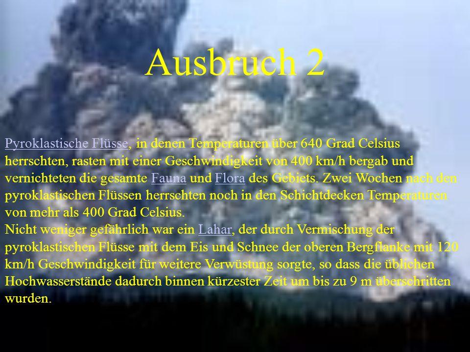 Ausbruch 2 Pyroklastische FlüssePyroklastische Flüsse, in denen Temperaturen über 640 Grad Celsius herrschten, rasten mit einer Geschwindigkeit von 40