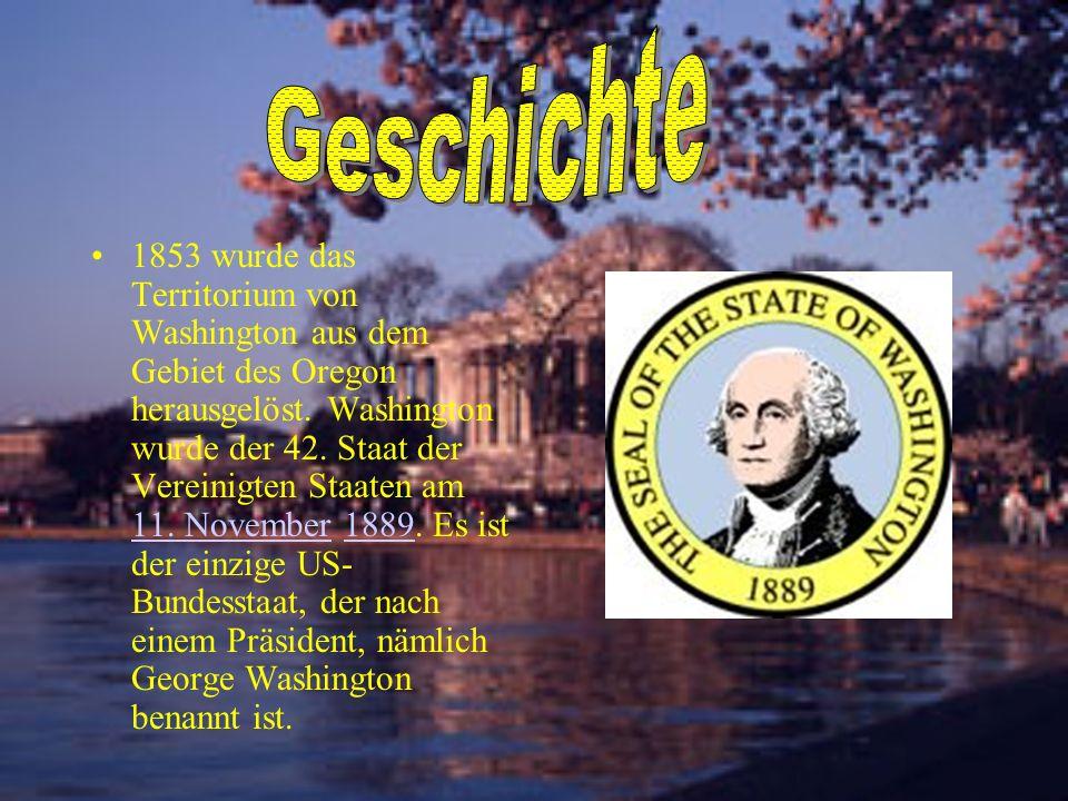 1853 wurde das Territorium von Washington aus dem Gebiet des Oregon herausgelöst. Washington wurde der 42. Staat der Vereinigten Staaten am 11. Novemb