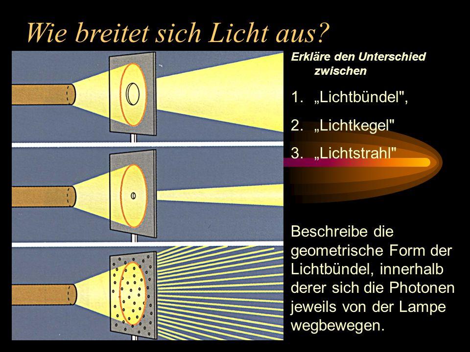 Wie breitet sich Licht aus? Beschreibe die geometrische Form der Lichtbündel, innerhalb derer sich die Photonen jeweils von der Lampe wegbewegen. Erkl