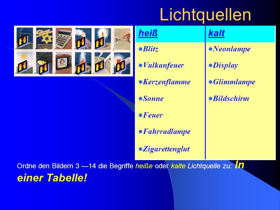 Lichtquellen Ordne den Bildern 3 14 die Begriffe heiße oder kalte Lichtquelle zu: In einer Tabelle! heißkalt Blitz Neonlampe Vulkanfeuer Display Kerze