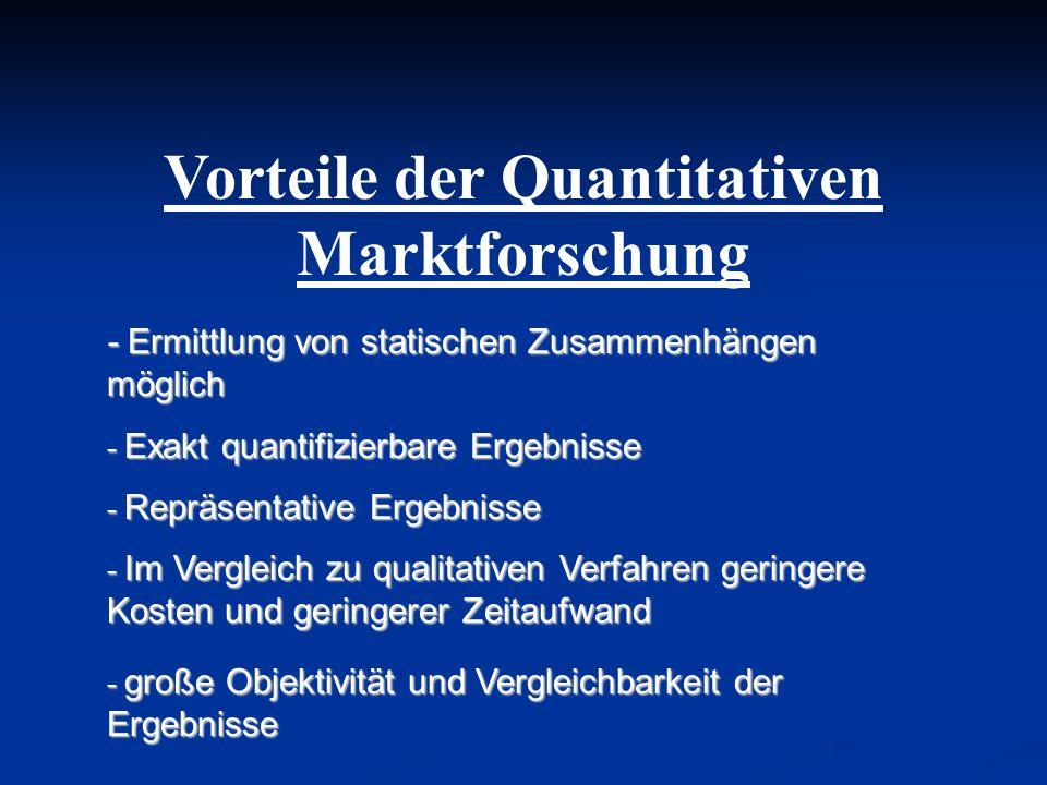 Vorteile der Quantitativen Marktforschung - Ermittlung von statischen Zusammenhängen möglich - Exakt quantifizierbare Ergebnisse - Repräsentative Erge