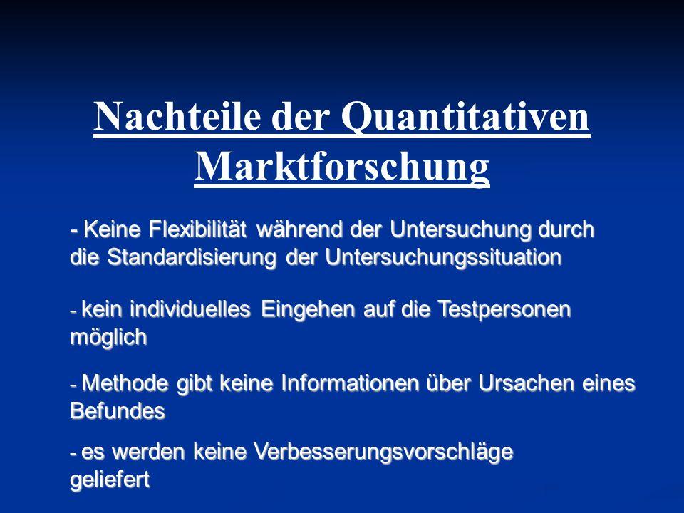 Nachteile der Quantitativen Marktforschung - Keine Flexibilität während der Untersuchung durch die Standardisierung der Untersuchungssituation - kein